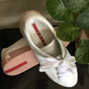 Prada Sneakers White and Pale Pink 37